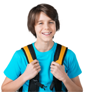 Boy with his backpack