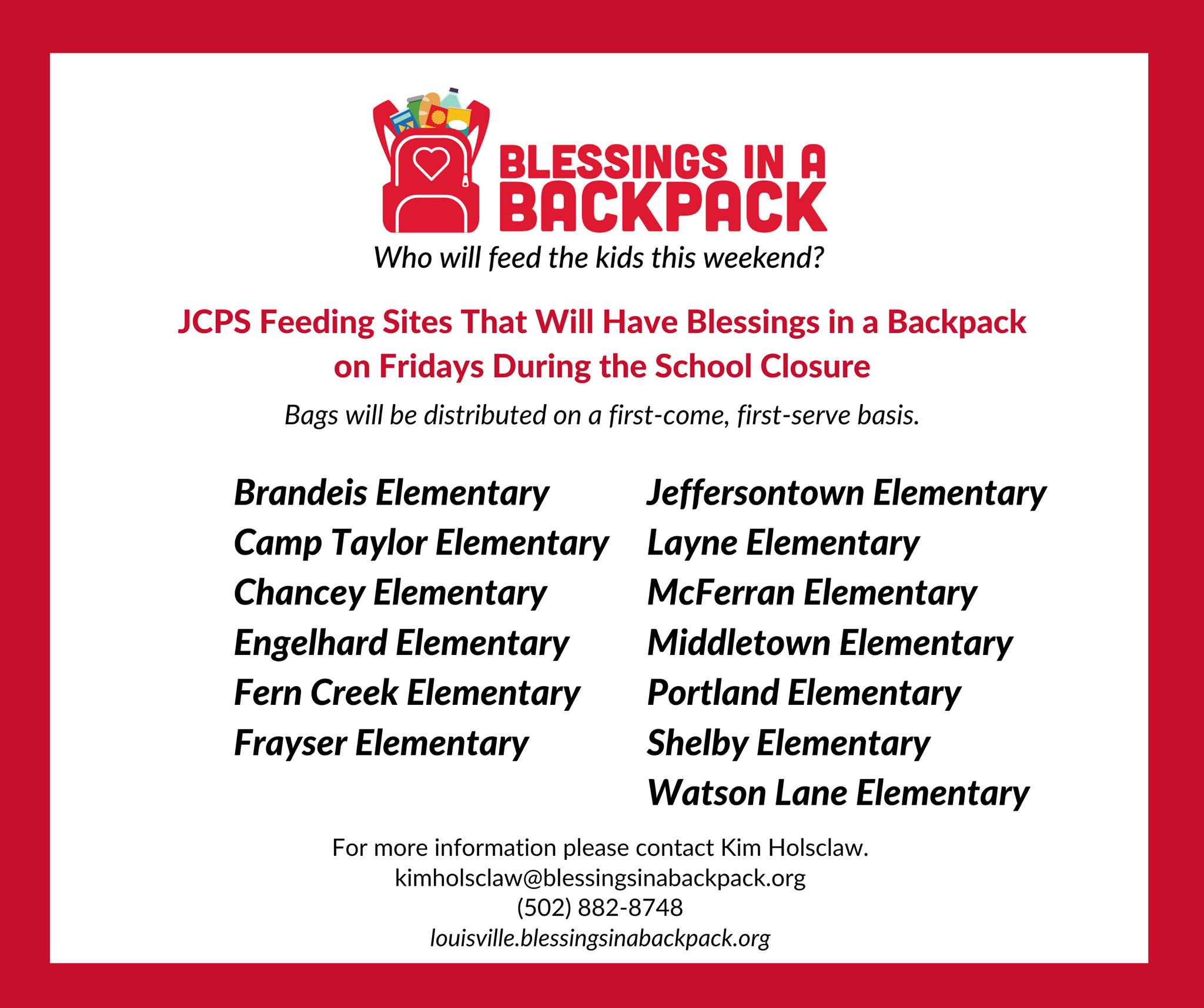 Blessings in a Backpack Food Will be Distributed at JCPS Feeding Sites