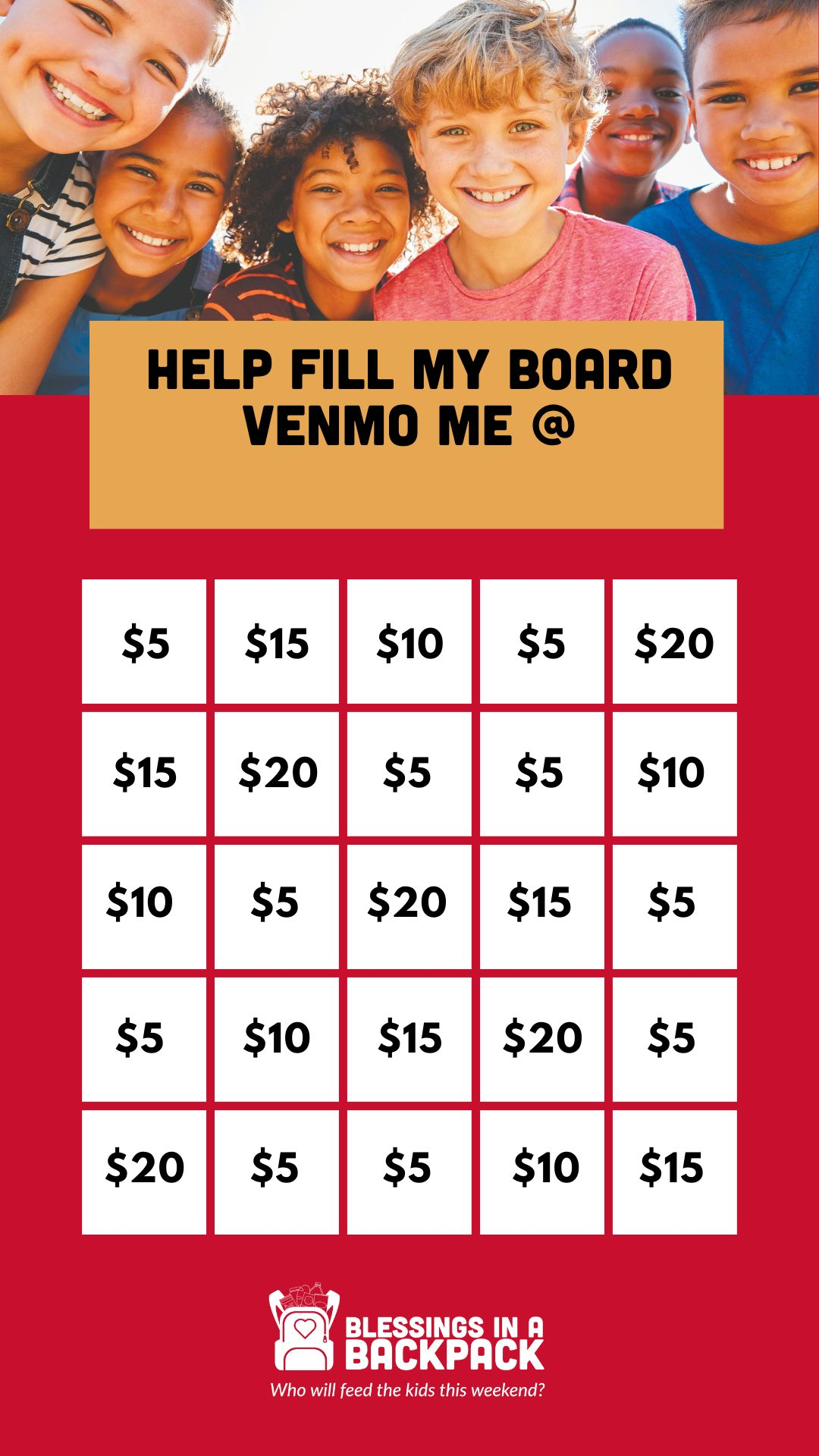 bingo board for fundraising